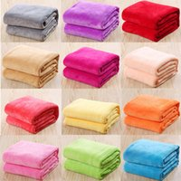 Wholesale red fleece blankets - Warm Coral Plaid Baby Blankets Travel Flannel Rug Sofa 12 Solid Color Fleece Blankets 17111802