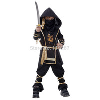 Wholesale Ninja Performance - Free shipping Fantasia Martial Ninja Grim Reaper Halloween Cosplay costume Children Warrior Costumes Stage Suit Boy Kids Swordsma Costume