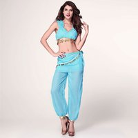 Wholesale Genie Aladdin Costumes - Free shipping Sexy Fashion Halloween Christmas costumes for women cosplay jasmine aladdin costume genie outfit fancy Dress costumes