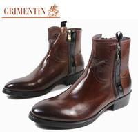 botas de couro venda por atacado-GRIMENTIN venda Quente marca mens ankle boots Italiano moda zip couro genuíno marrom preto formal business dress mens botas para homens sapatos