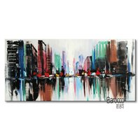 Wholesale paintings cityscapes - Abstract Color Cityscape Street 100% Hand Painted Scenery Oil Painting Modern Fashion Home Wall Art Decoration