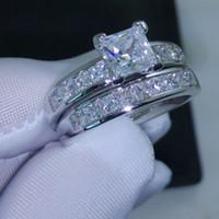 anel de casamento define corte princesa venda por atacado-Luxo Tamanho 5/6/7/8/9/10 Jóias 10kt ouro branco encheu Topaz Princesa corte simulado Diamante Anel de Casamento set presente com caixa