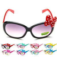 gafas de niños lindos al por mayor-Moda niños gafas de sol niños princesa bebé lindo bebé de dibujos animados Bowknot Gafas gafas de sol Goggle 8 COLOR KKA3337