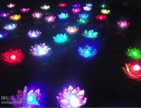 Wholesale Candle Pool - Artificial LED Lotus Flower Floating water pool Lotus Flower Candle Lamp With Colorful Changed Lights For Wedding Party Decorations Supplies