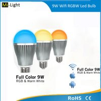 Wholesale Control Light Iphone - Wireless E27 9W RGBW LED Mi Light Lamp Bulb 2.4G Wifi Remote Control Brightness Dimmer for iPhone 5S for iPad IOS Android OS 3 year warranty