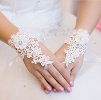 Wholesale Short Wedding Costumes - Full lace BRIDAL glove WEDDING PROM PARTY COSTUME Short GLOVES Fingerless Ivory Brand New Good Quality Free Shipping