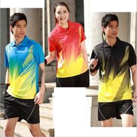 Wholesale Shirt Table - Wholesale-Free shipping fashion tri-color couple b-t-f- table tennis Jerseys clothing sportswear men and women Table Tennis shirt polo 363