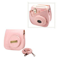 Wholesale Leather Bags For Cameras - Fuji Fujifilm Instax Polaroid Instant Camera Leather Case Bag Photo Camera Protect Case 8 Colors For Fuji Polaroid Mini8S