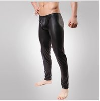 Wholesale Leather Costumes For Men - Wholesale-Fashion Cockcon Pant Faux leather pants compression tights mens clothing Sexy lingerie For men Latex stage costume performance