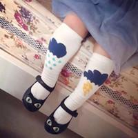 Wholesale Korea Baby Socks - Korea Fashion Baby Socks Boys Girls Socks Lightning Flash Clouds Rain Cute Socks Cotton Soft Stocking Kids Half Knee Antiskid Socks A3823