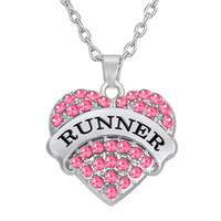 Wholesale Runners Necklace - Heart Necklace Colorful Crystal Pendant Necklaces DIY Women Jewelry Word Runner Link Chain Engagement 30pcs lot