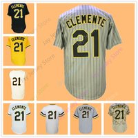 Wholesale Puerto Rico Jersey - Roberto Clemente Jersey Men Women Youth Pittsburgh Jerseys Santurce Crabbers Grey Pinstripe Flexbase Cool Base Home Away Puerto Rico