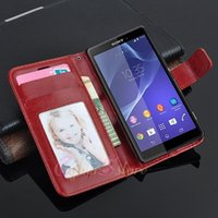 Wholesale Xperia Pouch - For Sony Xperia Z5   Z5 Compact Compact Vintage Wallet Leather Case + Card Holder Retro Flip Stand Cover Stand for Sony Z3 mini   Z3