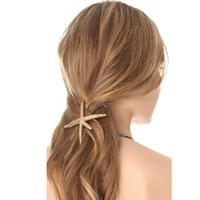 Wholesale Unique Hair Styling Accessories - Unique Gold Starfish Metal Star Spring Side Clip hairpin Hair Style Accessories