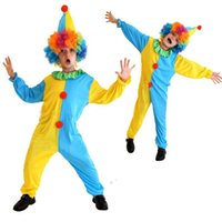 Wholesale clown music - Kids Boys Yellow Blue Circus Clown Cosplay Costume Fancy Dress Children's Day Performance Jumpsuits Party Supplies New Year