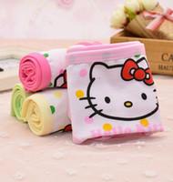 sevimli kız pamuklu külot toptan satış-Güzel Karikatür Kız Külot Çocuk Iç Çamaşırı Sevimli Renkli Nokta Kitty Kedi Baskı Pamuk Rahat Çocuk Külot boyut S-XL