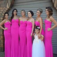 Wholesale Elegant Strapless Wedding Dress Hot - Simple Elegant Hot Pink Mermaid Bridesmaid Dresses 2018 Strapless Hollow Out Floor Length Maid Of Honor Wedding Party Guest Wear