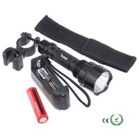 Wholesale Sets Cold - 1 set C8 XM-T6 LED Flashlights 2000 lumens High Power Torch [1 flashlight + 1*Battery + Charger + Mount holder + flashlight bag]
