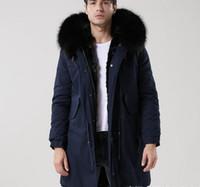 темно-коричневый мех оптовых-MEIFENG марка мужчины зимние шубы черный мех енота отделка США мех кролика подкладка темно-синий длинные парки с молнией ykk