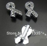 Wholesale Diy Phone Ribbon - 100pcs lot 8mm rhinestone ribbon cancer slide charm fit for 8mm diy keychains and phone strips