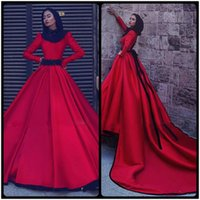Wholesale Dreses Sleeves 16 - 2018 Red Full Sleeve Muslim Wedding DresseS With Detachable Train High Neck A Line Satin Vintage Dreses Long vestido de noiva curto