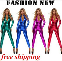 Wholesale Unitard Costume Sexy - New Fashion Women Sexy Metallic Fish Scales Mermaid Costume Catsuit Bodysuit Unitard Front Zip Jumpsuits Rompers 4 color new! Free Shipping