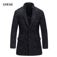 Wholesale Mens Black Leather Winter Overcoats - Fall-GUEQI 2016 Mens Wool Winter Jacket Long Woolen Men's Overcoat Leather Collar Warm Wool Outwear For Men XXL Black Coat 14100