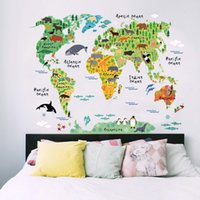 Papel pintado negro colorido Animal World Map Pegatinas de pared Calcomanía Niños Home Calcomanías Nursery Posters para la decoración del hogar