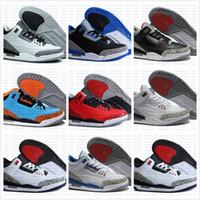 Wholesale M Powder - 2016 Cheap 3 3s trainers basketball shoes wolf grey sport blue Black Cement White True Blue Dark Powder Blue Sport sneaker boots