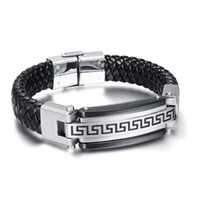 Wholesale Mens Leather Id Bracelets - New Arrival High Quality The Great Wall decorative pattern design Huge Black Leather 316L Stainless Steel Mens ID Bracelet 8.5''