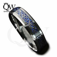 Wholesale Tungsten Ring Silver Inlay - Mens Celtic Rings 6mm 8mm Tungsten Carbide Wedding Bands Blue Background Silver Celtic Dragon Inlay with Blue Background Fashion Jewelry