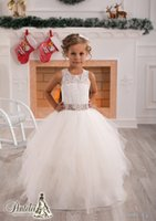 Wholesale Simple Flower Girl Dresses - Simple Cute Jewel Applique Sash Net Baby Girl Birthday Party Christmas Princess Dresses Children Girl Party Dresses Flower Girl Dresses
