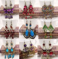 Wholesale Folk Cheap - Europe exaggerated ancient bronze alloy earrings wholesale diamond earrings mix folk style jewelry cheap mixed batch