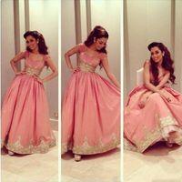 Wholesale Celebirty Dresses - 2015 Arabia Myriam Fares Celebirty Dress Evening Dress Pink Taffeta A-Line Gold Applique Cap Sleeve Formal Party Gown Prom Dresses Vestidos