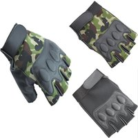 Wholesale Leather Fingerless Bicycle Gloves - 201410 Sports gloves biker gloves Outdoor sports tactical half gloves Cycling Gloves leather bicycle riding gloves Christmas Gifts A399X
