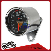 Wholesale Motorcycle Speed Meter - Universal Motorcycle Speedometer Odometer Gauge ATV Bike Scooter Backlit Dual Speed meter with LED Indicator DC 12V 0~160km h order<$18no tr