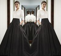 falda de satén hasta el suelo al por mayor-Faldas de satén largas de cintura alta negro Faldas de busto de longitud de la cintura ancha faldas por encargo de alta calidad de la falda maxi de la falda por encargo del verano