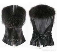 Wholesale Womens Leather Vest Fashion - Free Shipping Womens Winter Lapel Neck Faux Mink Fur Leather Vests Warm Sleeveless Vest Jacket Coat Waistcoat Outwear Plus Sizes WT177