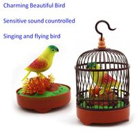 Wholesale Sound Controlled Electronic Pets Birds Sound Controlled Sensitive Bird Simulation Bird Flying and Singing Bird for Home Garden Decoration