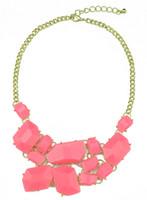 Wholesale Necklace Bib Gems - Charming Choker Bib Necklace New Arrival Gold Metal Resin Gem Stone Fashion