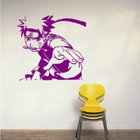 Wholesale Naruto Mouse - Anime Cartoon Naruto Uzumaki Naruto Bite Weapon In Mouse Cool Propile PVC Hollow Out Environmental Wall Sticker Decal Home Decor