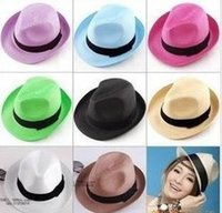 Wholesale Straw Mens Trilby Hats - Wholesale-Free shipping Fashion Womens Mens Unisex Fedora Trilby Gangster Cap Summer Beach Sun Straw Panama Hat Couples Lovers Hat 50 PCS