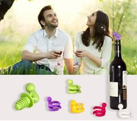 Wholesale Bottle Stopper Kits - 2015 Small Drunkard Silicone Champagne Wine Bottle Stopper Kits with Rubber Wine Glass Cup Marker Set Novelty Gift