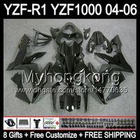 Wholesale Yamaha R1 Fairings - 8Gifts+ Body For YAMAHA YZF-R1 04-06 YZF R1 MY48 YZF1000 YZFR1 ALL Gloss black 04 05 06 YZF 1000 YZF R 1 2004 2005 2006 Fairing Kit Black