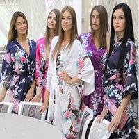 Wholesale Sexy Silk Robe Long Purple - Wholesale Silk Kimono Robes For Women Satin Bathrobe Long Silk Robes For Bridesmaids Longue Femme Women Dressing Gown Bridesmaid Robe