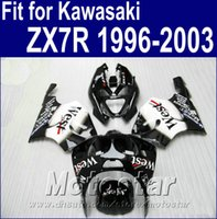 kawasaki ninja zx7r karosserie großhandel-Kunststoff-Karosseriesatz für Kawasaki Ninja ZX7R Verkleidungen 1996 - 2003 ZX 7R 96-02 03 weiß schwarz West Fairing Bodykit AQ6