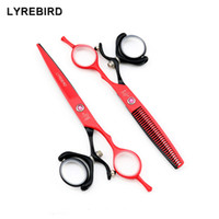 Wholesale scissors swivel - Lyrebird Hair scissors 6 INCH Red and black 360 swivel hairdressing scissors Japan hair shears Thinning shears NEW
