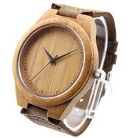 Wholesale Miyota Quartz - 2015 new Classic Bamboo Wooden Watch japanese miyota 2035 movement wristwatches genuine leather bamboo wood watches for men women