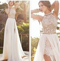Wholesale Beach Evening Wear - In Stock 2015 Lace Applique Chiffon Prom Dresses Halter Beaded Crystals Short Side Slit Backless Evening Gowns Summer Beach Wedding Dresses