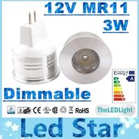 Wholesale Dimmable Mr11 Led Bulb - DHL Free Shipping + 3W MR11 Led Cabinet Light CREE Dimmable Led Bulbs Light 12V Warm Natrual Cold White 300lm High Bright + CE ROHS UL CSA